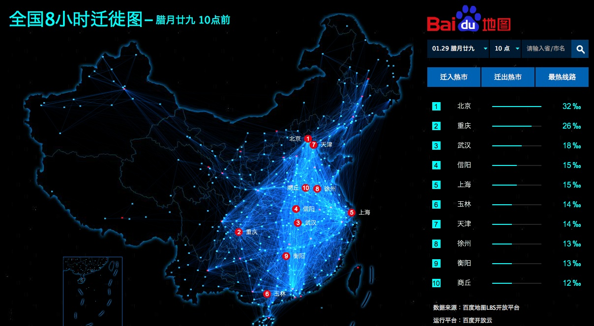 Chinese New Year Chunyun People Migration Map